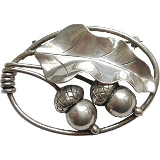 Georg Jensen Inc USA Oak Leaf and Acorns Handwrought Sterling Silver Pin Brooch
