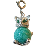 Monet Kitty Cat Charm with Emerald-green Eyes and Green Stone Body
