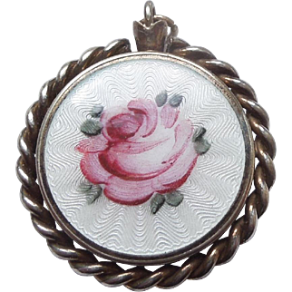 Vintage Guilloche Enamel Rose Locket Pendant with See-through Photo / Keepsake Compartment