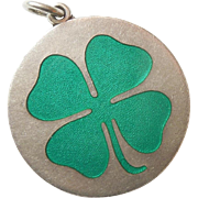 Sterling Silver and Guilloche Enamel Shamrock Pendant / Charm - Charles Thomae