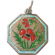 TLM Thomas L Mott Flower of the Month Sterling Silver and Enamel Charm - August Poppy
