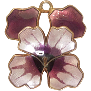 David-Andersen Purple Guilloche Enamel and Sterling Silver Pansy Charm / Pendant