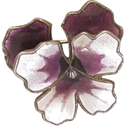 David-Andersen Purple Guilloche Enamel and Sterling Silver Pansy Pin