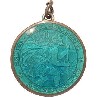 St. Christopher Carrying the Christ Child - Sterling Silver and Teal Enamel Religious Medal Charm or Pendant - Charles Thomae