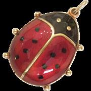 David-Andersen Sterling Silver Guilloche Enamel Ladybug Pendant