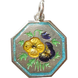 TLM Thomas L Mott Flower of the Month Sterling Silver and Enamel Charm - May Pansy