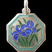 TLM Thomas L Mott Flower of the Month Sterling Silver and Enamel Charm - April Iris