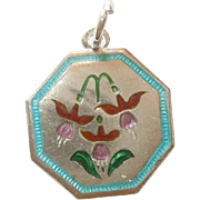 TLM Thomas L Mott Flower of the Month Sterling Silver and Enamel Charm - July Fuchsia