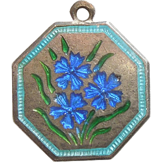 TLM Thomas L Mott Flower of the Month Sterling Silver and Enamel Charm - September Cornflower
