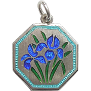 TLM Thomas L Mott Flower of the Month Sterling Silver and Enamel Charm - April Iris