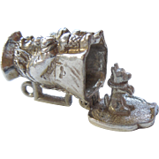 Vintage Sterling Silver Toby Jug Charm - Opens to Begging Dog