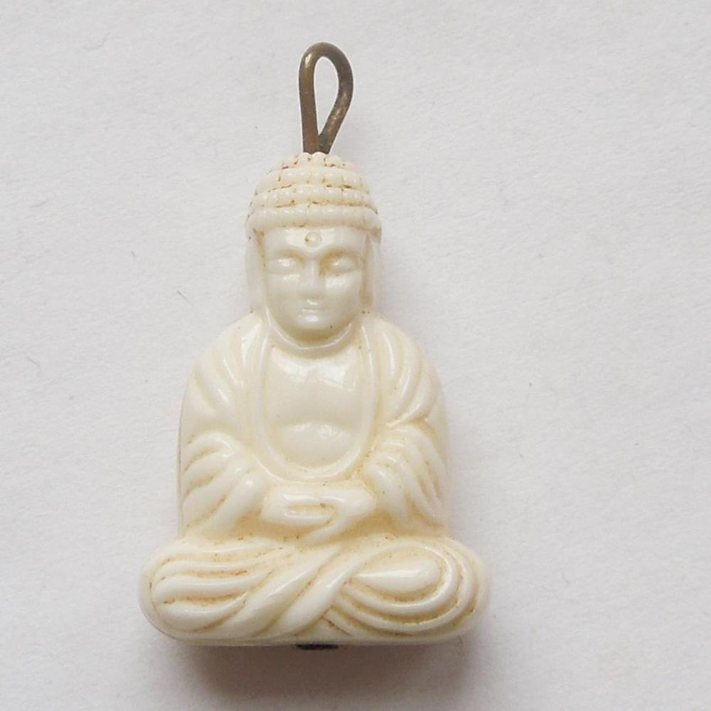 Vintage faux ivory buddha charm from the big o on ruby lane roll over large image to magnify click large image to zoom mozeypictures Choice Image
