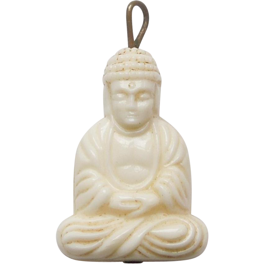 Vintage faux ivory buddha charm the big o ruby lane mozeypictures Images