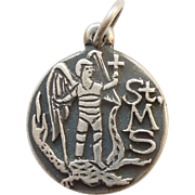 James Avery Retired Sterling Silver St. Michael Slaying the Dragon Charm