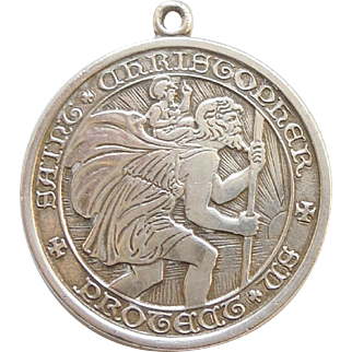 Thomae Sterling Silver St. Christopher Pendant / Charm - Engraved 'I Wish You Love'