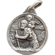 Exquisitely Detailed St. Christopher Silver Charm / Medal / Pendant