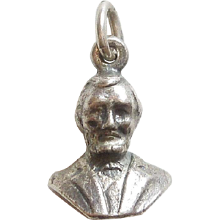 Vintage Sterling Silver Charm - 3D Bust of President Abraham Lincoln
