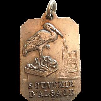 Unusual French Saint St. Christopher Religious Charm / Medal / Pendant - Storks of Alsace Souvenir