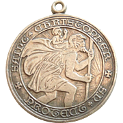 Large Sterling Silver Saint St. Christopher Religious Medal / Pendant / Charm - Engraved with initials and 1958 Date