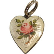 Scandinavian Sterling Silver and White Guilloche Enamel Pink Rose Heart Charm / Pendant