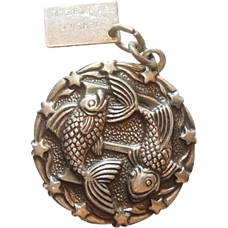 Pisces Vintage Sterling Silver Zodiac Charm by Bell Sterling