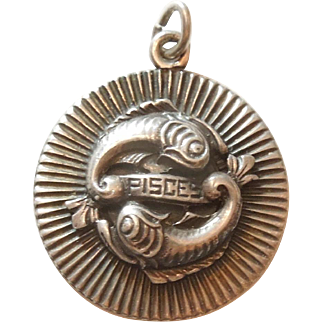 Pisces Vintage Sterling Silver Zodiac Charm by Cini