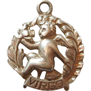Virgo Vintage Sterling Silver Cut-out Zodiac Charm by Cini