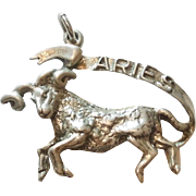 Vintage Sterling Silver Aries, the Ram, 3D Figural Zodiac Charm or Pendant