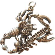 Vintage Sterling Silver Scorpio, the Scorpion, 3D Figural Zodiac Charm or Pendant by Danecraft
