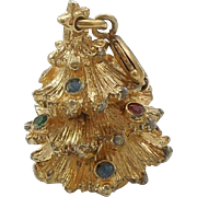 Monet Gold-tone Christmas Tree Charm with Jewels