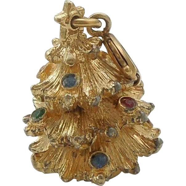 Monet Gold Tone Christmas Tree Charm With Jewels From The Big O On  - Christmas Tree Charms
