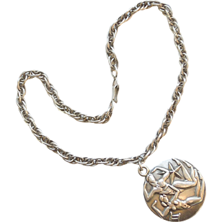 Margot de Taxco Mexico Sterling Zodiac Charm Pendant and Necklace – Gemini the Twins