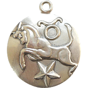 Margot de Taxco Mexico Sterling Zodiac Charm Pendant and Necklace – Taurus the Bull