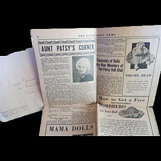 "Vintage ""VERY RARE"" Effanbee Pastytown News Paper 1937 & Envelope"