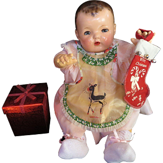 """Vintage """"RARE"""" Effanbee Dy-Dee Doll Christmas Rudolph Apron for your 20"""" Doll"""