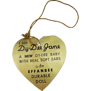 "Vintage Effanbee Dy-Dee Doll Jane Gold Heart Tag for your 15"" Doll"