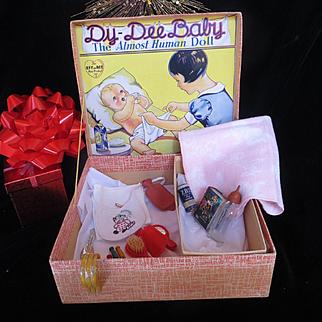 Vintage Effanbee Dy-De Doll FAO Schwarz Presentation Box with Accessories
