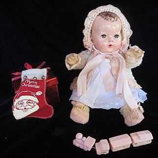 """Vintage Effanbee Dy-Dee Doll Jane Sweater Set for 15"""" Doll- Sweater, Bonnet & Booties"""