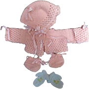 "Vintage Effanbee Dy-Dee Doll Sweater, bonnet, booties & mittens Set for your 15"" Doll & mittens"