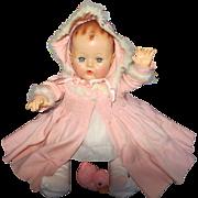 "Vintage Effanbee Dy-Dee Doll Lou 20"" Coat & Bonnet with trim"