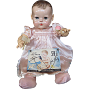Vintage Effanbee Dy-DeeDoll Lou Pink Celluloid Rattle, Celluloid Come & Darling Card
