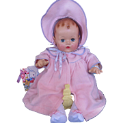 """Vintage 'MINT"""" """"RARE RARE""""  GORGEGOUS Effanbee Dy-Dee Doll Lou Eiderdown Coat & Bonnet for 20"""" doll"""