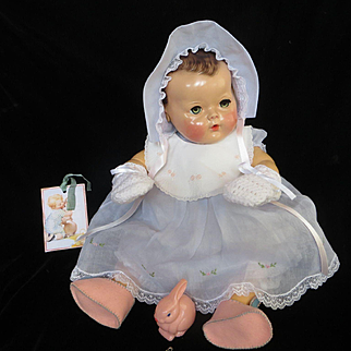 "Vintage Effanbee Dy-Dee Doll Lou Felt Bunny Shoes, Easter Bib, Mittens & Diaper Clasp's with medal for your 20"" Doll"