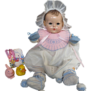 Vintage Effanbee Dy-Dee Doll Lou  Easter Bib & Booties & Mittens