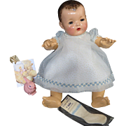 """Vintage """"GORGEOUS"""" Effanbee Dy-Dee Doll Lou"""" BLUE"""" dotted Swiss Dress, Slip & rayon socks for your 20"""" Doll"""