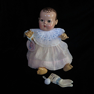 """Vintage Effanbee Dy-Dee doll Jane Bib or for Tiny Tears Doll, Rayon Socks & Rattle for your 15""""  Doll"""