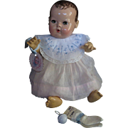 "Vintage Effanbee Dy-Dee doll Jane Bib or for Tiny Tears Doll, Rayon Socks & Rattle for your 15""  Doll"