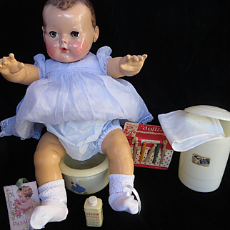 """Vintage Effanbee Dy-Dee Doll """"RARE"""" Diaper Pail, Potty, Clothing hanger & powder- OR TINY TEARS 15"""" or 20"""" Doll"""