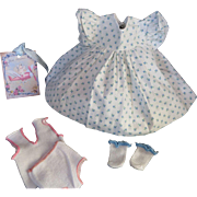 """Vintage Effanbee Dy-Dee Doll or Tiny Tears Doll Dimity Dress,"""" MINT"""" Undershirt, panties & rayon socks for your 11"""" Doll"""