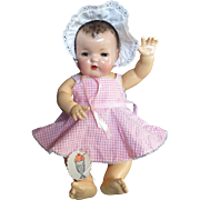 "Vintage Effanbee Dy-Dee Lou Doll Pink checkered with Effanbee Trim Sun Suit & Bonnet for your 20"" Doll"